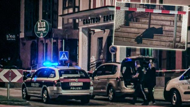 Hier, vor dem Gasthof Eder in Salzburg-Parsch, passierte der Streit mit blutigem Ausgang. Ein vergessenes Bekleidungsstück zeugt davon.
