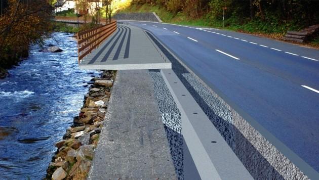 So könnte eine Hängebrücke am Wasser aussehen.
