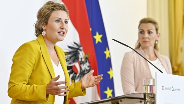 Frauenministerin Susanne Raab und Arbeitsministerin Christine Aschbacher von der ÖVP (Bild: APA/HANS PUNZ)