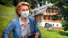 Ursula von der Leyen soll zehn Tage in der noblen Almhütte bleiben. (Bild: JOHN THYS/POOL/AFP, Peter Bernthaler, Krone KREATIV)