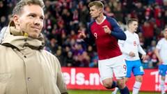 Leipzig-Trainer Julian Nagelsmann angelt nach Alexander Sörloth (re.) (Bild: AFP, GEPA)
