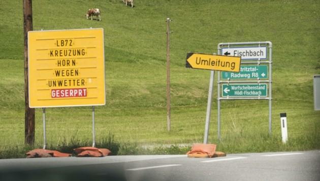Die Schäden an der Weizer Straße (B 72) werden vom Land Steiermark auf etwa eine Million Euro geschätzt. (Bild: Elmar Gubisch)