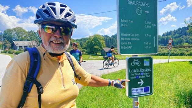 Naturliebhaber und Birdlife Kärnten-Gründer Peter Wiedner ist vom Ciclovia Alpe Adria begeistert.