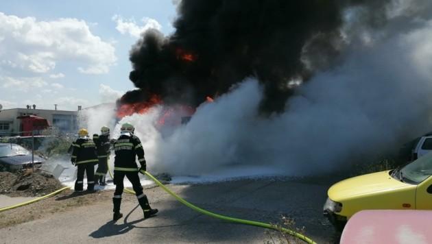 Meterhohe Flammen schlugen aus der dunklen Rauchsäule (Bild: Presseteam der FF Wiener Neustadt)