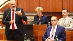 Doskozil bei seiner Rede, neben ihm sitzt der neue Landesrat. (Bild: Judt Reinhard)