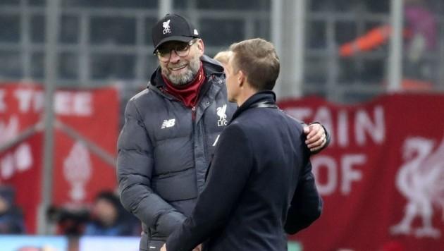 Vergangenen Dezember war Jürgen Klopp schon in der Champions-League-Gruppenphase in Salzburg (re. Coach Marsch) zu Gast. Nun schlägt er ein Trainingscamp im Pinzgau auf.