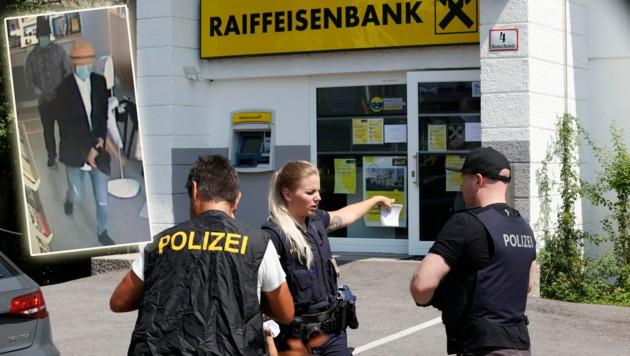 Im Corona-Jahr kommen auch Bankräuber nicht an Schutzmasken vorbei. Die Polizisten nehmen den Tatort unter die Lupe. (Bild: Markus Tschepp, Polizei Salzburg)