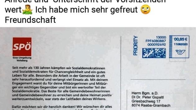 """Mit diesem Posting """"bedankte"""" sich Peter Gspaltl für die Grüße der SPÖ-Bezirksorganisation."""