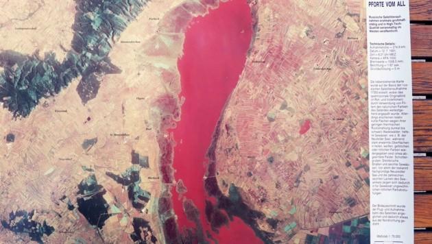 Aufnahme des Sees von einem Satelliten in den 1950er-Jahren