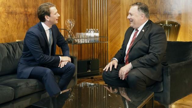 US-Außenminister Mike Pompeo und Bundeskanzler Sebastian Kurz (Bild: BUNDESKANZLERAMT/DRAGAN TATIC)