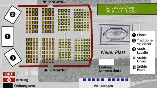 """Das ist der Plan für eine """"hochsichere"""" Festveranstaltung auf dem Neuen Platz zwischen Rathaus und Lindwurm. Eine der Bühnen wird der Stadtkapelle zur Verfügung stehen, eine Traditionsverbänden, eine den Chören. (Bild: zVg)"""
