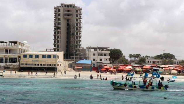 Das Elite-Hotel am Lido-Strand von Mogadischu (Bild: AFP)