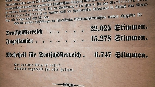 """Das Ergebnis, veröffentlicht in der """"Klagenfurter Zeitung"""": Die Mehrheit stimmte für Deutschösterreich (Bild: Rojsek-Wiedergut Uta)"""
