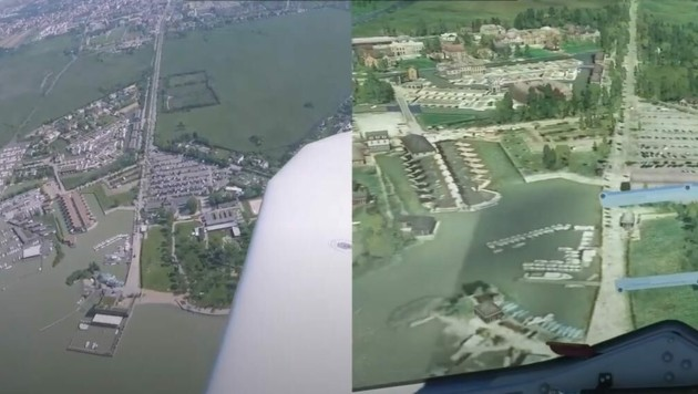 Neusiedl am See einmal in echt (links) und einmal im Simulator. (Bild: krone.at)