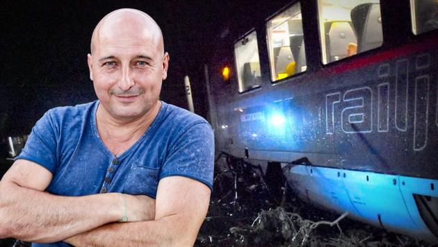 Christoph Fälbl ist ehemaliges ÖBB-Testimonial. In der Nacht auf Montag verunglückte ein Railjet, in dem er saß. (Bild: picturedesk.com, BFV MU, krone.at-Grafik)