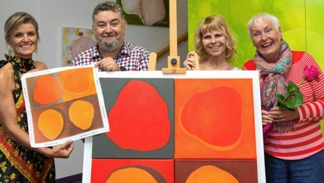 Brigitte Stefaner, Wolfgang Repitsch und Sonya Feinig mit der Künstlerin Edda Rosa Clausen (von links).
