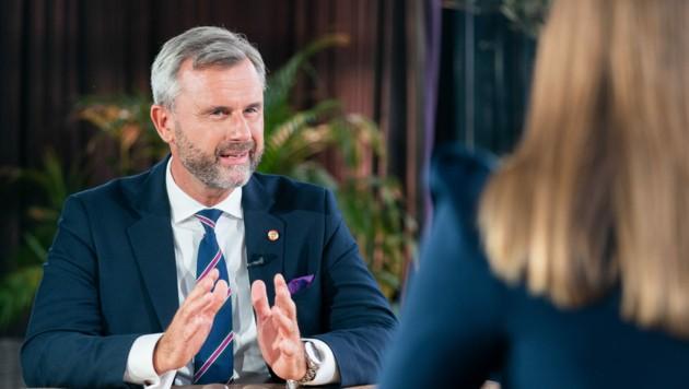 """FPÖ-Chef Norbert Hofer beim ORF-""""Sommergespräch"""" in Wien (Bild: APA/Georg Hochmuth)"""