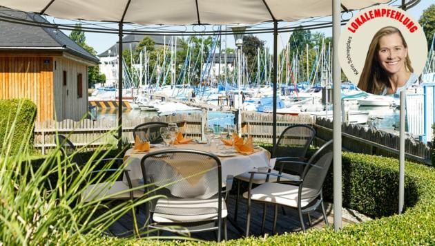 Sommerlicher Blick auf den Attersee, dazu klassisch-gehobene Fischküche