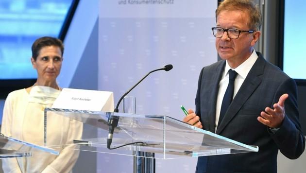 Karin Eglau (Gesundheit Österreich GmbH) und Gesundheitsminister Rudolf Anschober (Grüne) gaben einen Einblick auf die bisherigen Auswirkungen der Corona-Krise auf das Gesundheitssystem.