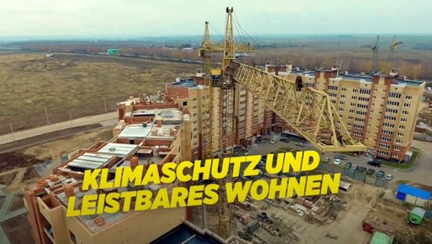 Die Baustelle ist laut einem Werbevideo von Birgit Hebein mitten in Wien. Was man allerdings nur nach zu viel Wodka-Konsum glauben kann. (Bild: youtube.com/gruenewien)
