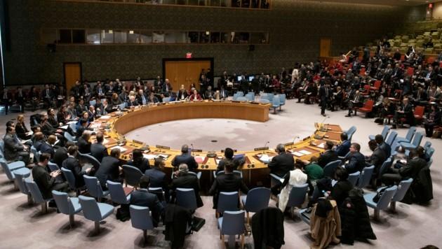 Der UNO-Sicherheitsrat bei einer Sitzung im Jänner 2020 (Bild: AFP)