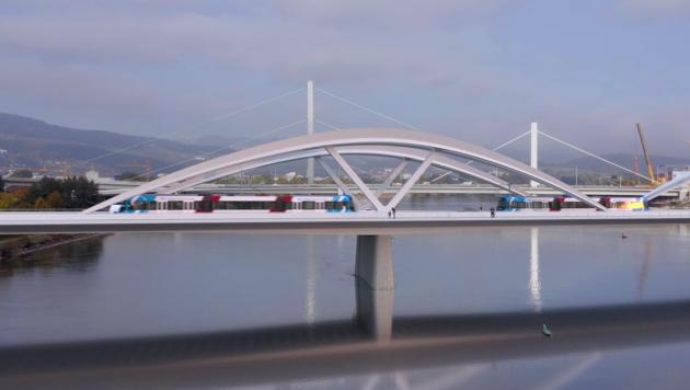 Die neue Stadtbahn wird auch über die neue Eisenbahnbrücke flitzen