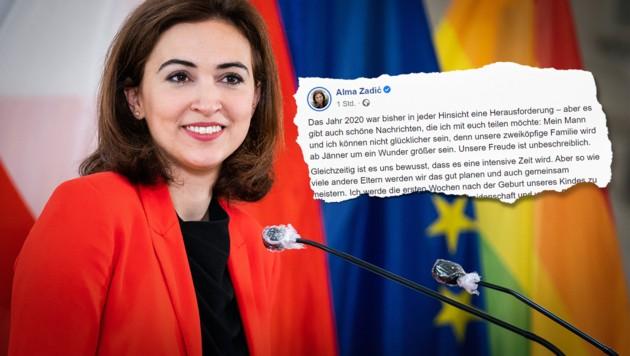 Justizminister Alma Zadic gab auf Facebook bekannt, dass sie schwanger ist. (Bild: APA/GEORG HOCHMUTH, facebook.com, Krone KREATIV)