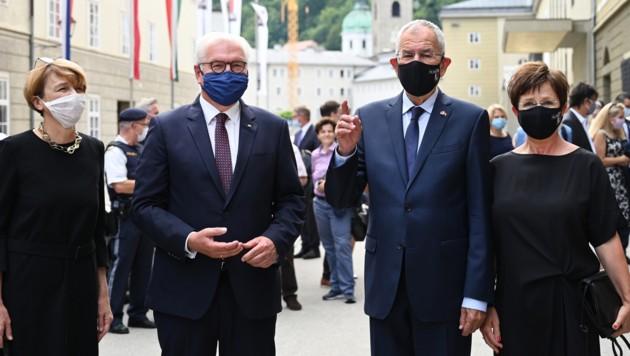 Der deutsche Bundespräsident Frank-Walter Steinmeier mit seiner Frau Elke Büdenbender und Bundespräsident Alexander Van der Bellen mit First Lady Doris Schmidauer besuchten heuer die Salzburger Festspiele.