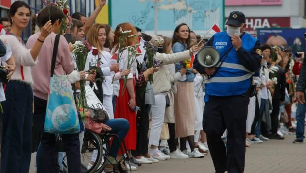 Proteste gegen STaatschef Lukaschenko in Minsk