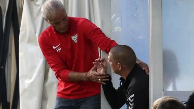 Sind derzeit nicht zufrieden: Grödigs Neo-Coach Heimo Pfeifenberger (li.) und Pinzgaus Star-Coach Christian Ziege (Bild: Tröster Andreas)