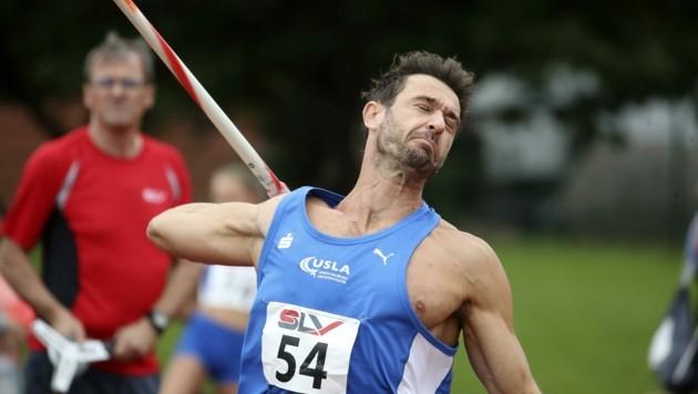 Speerwerfer Matthias Kaserer überzeugte mit der Siegerweite von 68,37 Metern.