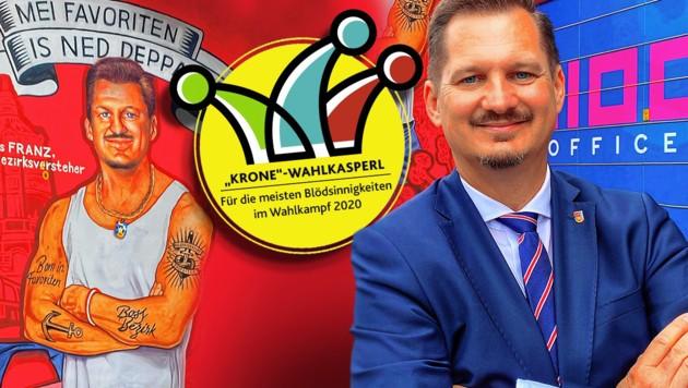 """Wahlwerbung als """"Mundl"""": Bezirkschef Marcus Franz vor seinem Graffiti."""