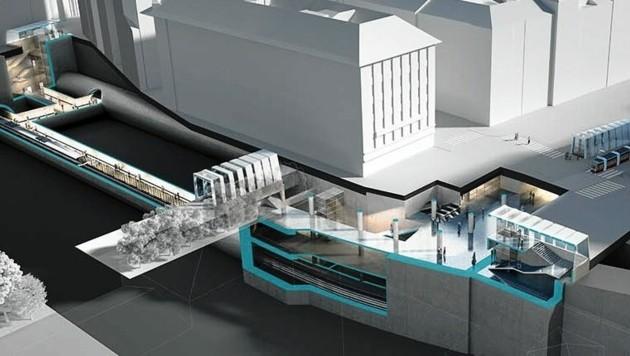 Die geplante U5-Station Frankhplatz (Bild: Arch Mossburger Datenquelle: Sta)
