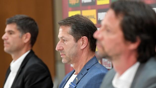 Geschäftsführer Bernhard Neuhold, Teamchef Franco Foda und Sportdirektor Peter Schöttel.