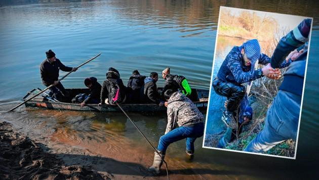 Die EU als Ziel: Mit Booten wollen viele Migranten über den Fluss gelangen (Archivbild). Völlig durchnässt wurde dieser junge Mann ans Ufer gezogen. Schlepper sind im Großeinsatz.
