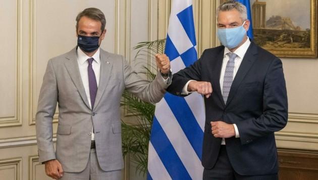 Der griechische Regierungschef Kyriakos Mitsotakis und Innenminister Karl Nehammer (ÖVP)