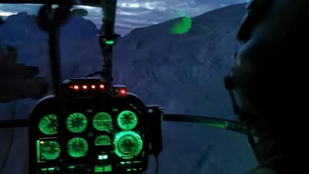 Die Alouette 3 des Bundesheeres im Rettungseinsatz am Dachstein (Bild: Bundesheer)