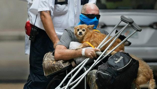 Ein Mann wird in einem Hotel in New Orleans mit seinen Haustieren in Sicherheit gebracht. (Bild: Max Becherer/The Advocate via AP)