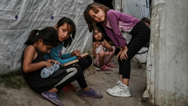 Kinder im Flüchtlingslager Moria auf der griechischen Insel Lesbos (Bild: AFP)