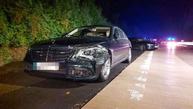 Das Fahrzeug von Kretschmann nach dem Unfall