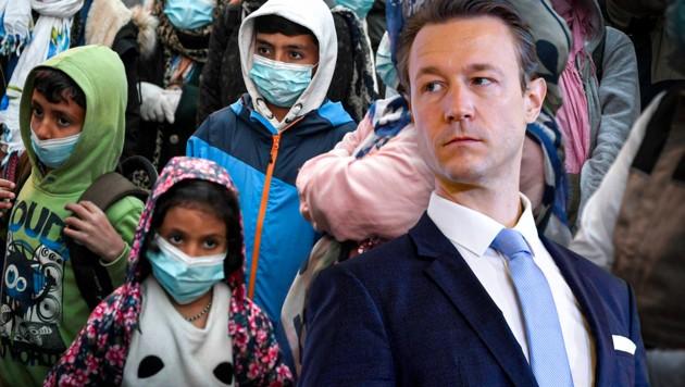 Flüchtlingskinder von Griechenland nach Wien? Von der Wiener ÖVP kommt eine eindeutige Absage. (Bild: Louisa Gouliamaki/AFP, APA/ROLAND SCHLAGER, Krone KREATIV)