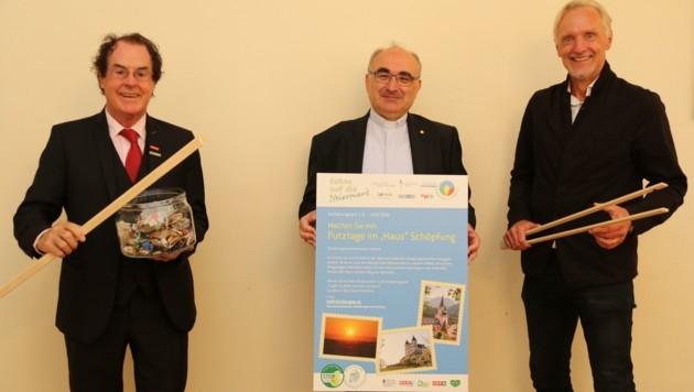 Saubermacher-Chef Hans Roth, Bischof Wilhelm Krautwaschl, Stadtrat Günter Riegler (von links). (Bild: Jauschowetz Christian)