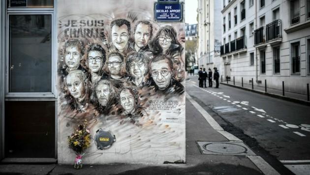 """Die Opfer des Anschlags auf die Redaktion des Satiremagazins """"Charlie Hebdo"""" im Jänner 2015. (Bild: AFP)"""