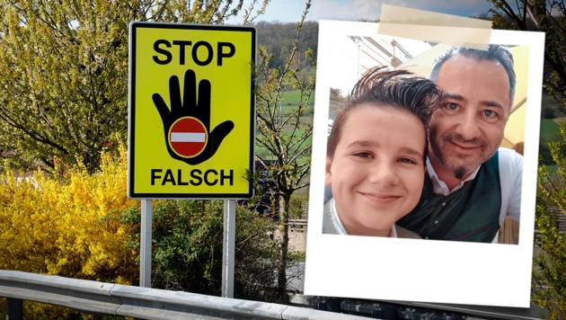 Martin Franz Waldsam und sein Sohn Maximilian stoppten eine Geisterfahrerin. (Bild: Franz Waldsam, stock.adobe.com, Krone KREATIV)