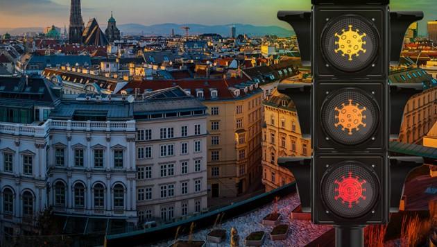 """Wien ist bereits bei der ersten Ampel-Schaltung mit Gelb eingestuft - """"mittleres Risiko"""". (Bild: stock.adobe.com, Krone KREATIV)"""