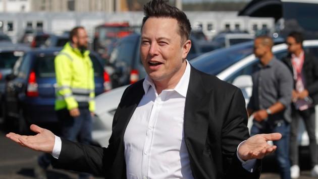 """Tesla-Chef Elon Musk auf der Baustelle seiner """"Gigafactory"""" vor den Toren Berlins (Bild: APA/AFP/Odd ANDERSEN)"""