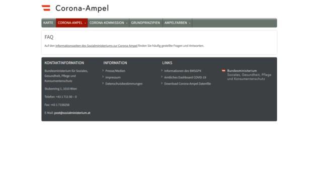 Das hätte man schöner lösen können: Statt bei den häufig gestellten Fragen einen Link zur Website des Gesundheitsministeriums zu setzen, hätte man die Fragen und Antworten auch direkt auf der Ampel-Website platzieren können. (Bild: Screenshot, corona-ampel.gv.at)