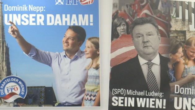 Die Plakate der FPÖ Wien (Bild: APA/HERBERT PFARRHOFER)
