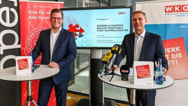 Fordern gratis Corona-Tests für ihre Mitarbeiter und neue Quarantäne-Regeln: Bernhard Müller (links) und Franz Jirka.