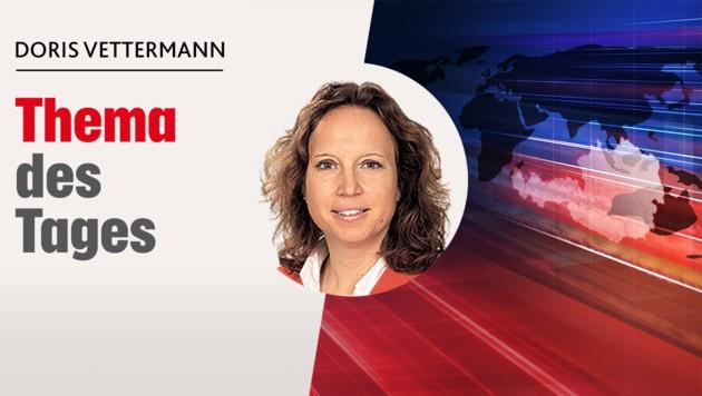 """Kommentiert für die """"Krone"""": Polit-Insiderin Doris Vettermann (Bild: stock.adobe.com, Krone KREATIV)"""